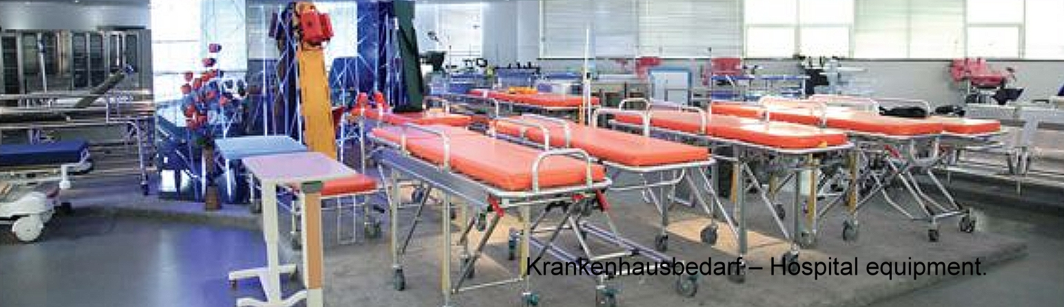 Krankenhausbedarf – Hospital equipment.